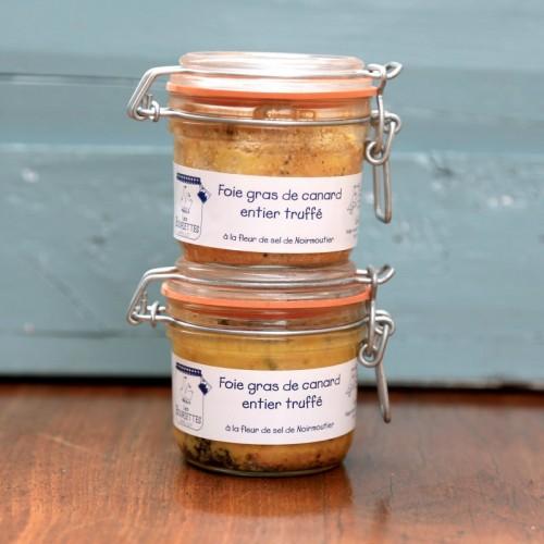 Lot de 2 foies gras de canard entier truffé en conserve de 180g - Les Bouriettes