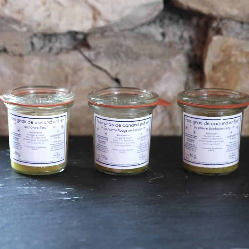Collection des 3 foies gras de canard entier aux poivres