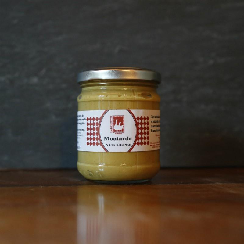 Pot en verre de moutarde aux cèpes de 110g Les Bouriettes